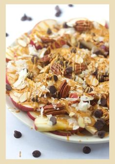Have you ever had Apple nachos? Look at all the yummy toppings  Good after school snack   RECIPE