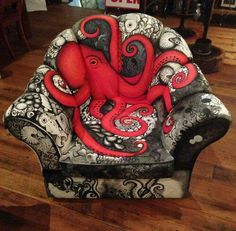Steampunk Tendencies Page Liked · 11 hrs · Octopus Chair by Wendy Olsen Funky Furniture, Unique Furniture, Painted Furniture, Dark Furniture, Octopus Art, Octopus Decor, Octopus Tentacles, Red Octopus, Kraken