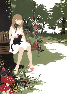 Illustration by Katogi Mari She And Her Cat, Art And Illustration, Cat Art, Love Art, Art Photography, Poster, Art Gallery, Sketches, Art Forms