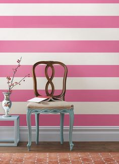 Pretty in pink stripes DIY valentines day decor idea with removable wall decals Flirt Pink stripes valentines day decor idea