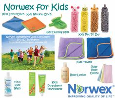 Norwex has so many kid friendly items! Look how cute the kid pet-to-dry towels are! Drying your hands has never been so fun!