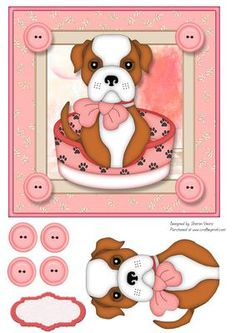 Blendy the Dog on Craftsuprint designed by Sharon Vieira - This card front is approx 7x7 in. it comes with decoupage and one blank label - Now available for download!