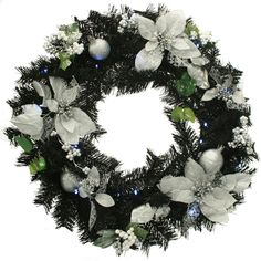 Black & Silver Decorated Pre-Lit Wreath Christmas Decoration Illuminated with 20 for sale Christmas Window Decorations, Holiday Ornaments, Christmas Wreaths, Holiday Decor, Red And Gold Christmas Tree, Beautiful Christmas, Pre Lit Wreath, Black Wreath, White Led Lights