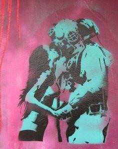 scubadriver  stencil art in Darwin