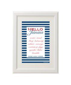 Hello June printable I Hello Június - nyomtatható tengerészes grafika pl. gyerekszobába *Manzard9