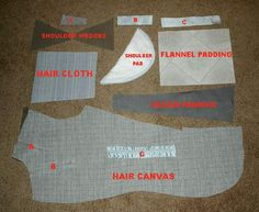 "The foundation of the canvas is a large piece of fabric known as ""hair canvas"" that is cut to the shape of the front and then various locations are slashed and either pulled together or spread apart to provide the shaping.    The pieces A, B and C are stitched in front or behind the slits to hold them in the forced positions. A spreads the shoulder edge to provide the beautiful curve to the shoulder. B and C shape the chest and pinch the waist."