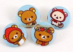 Fabric Covered Buttons (L) - Kawaii Rilakkuma and Friends, Strawberry Picnic Day (4Pcs, 1.1 Inch). $5.00, via Etsy.