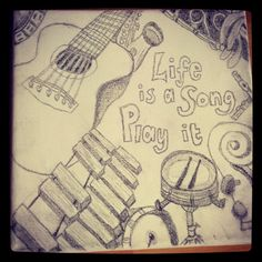 Just drawing, life is a song, play it. Guitar, piano, drums, cello, clarinet, flute, xylophone, orchestral canvas art.
