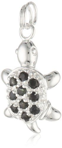 Sterling Silver and Blue Sapphire Turtle Charm #Sterling #Silver #Blue #Sapphire #Turtle #Charm