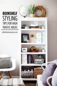 Bookshelf styling tips with fun finds from Target for high traffic areas.