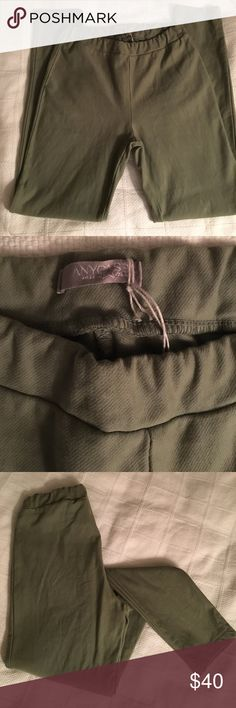 """Anycase pull on legging Med  Anycase military green pull in legging in size Medium. 95% cotton, 5% elastam. Inseam measures about 28"""". Elastic waistband makes these easy and comfy! The perfect pant to bring you into fall  with a pair of boots. Excellent condition. never worn! anycase Pants Leggings"""