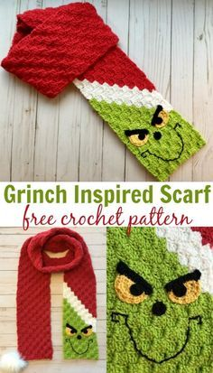 If this Grinch Inspired corner-to-corner scarf isn't the most perfect rendition I've seen, I don't know what is! Embellish with yellow eyes, black eyebrows, and a crooked little smile. via crafts grinch Crochet Patterns Crochet C2c, Crochet Gifts, Crochet Shawl, Crochet Stitches, Crochet Mittens, Crochet Pattern Free, Crochet Eyes, Diy Crafts Crochet, Mittens Pattern