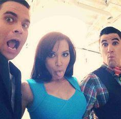 Mark Salling, Naya Rivera, and Darren Criss Make Funny Faces on Set