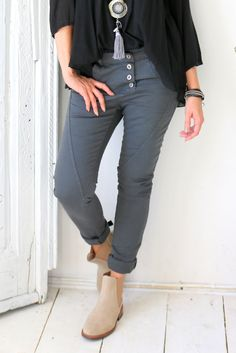 buy online 19caa 16703 Perfect Jeans Regular, DARK GREY - Stretch Pants - BYPIAS