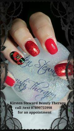 Poppy nail art. Remembrance day nail art