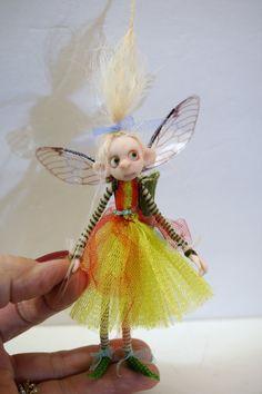 ooak poseable bright spring PIXIE fairy ( #17 ) polymer clay art doll by DinkyDarlings   faerie faery angel by DinkyDarlings on Etsy