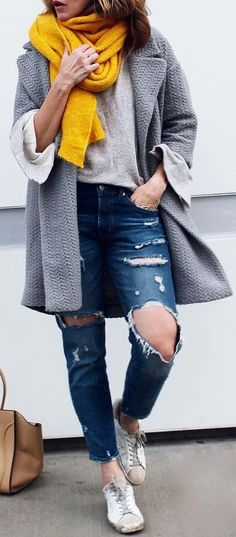 Yellow Scarf / Grey Coat / Destroyed & Ripped Jeans / White Sneakers / Camel Leather Tote Bag