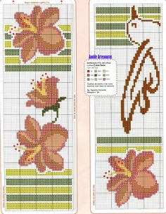 Hibiscos toalhas - 1/2 Mini Cross Stitch, Cross Stitch Flowers, Cross Stitch Charts, Cross Stitch Patterns, Bargello, Loom Beading, Hand Towels, Cross Stitching, Bookmarks