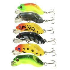 #TomTop - #TomTop Lixada 6PCS 0.3-0.9m Diving Frog Fishing Lures 8.9g 55mm Artificial Hard Bait Set Wobbler Bait with #8 Hooks - AdoreWe.com