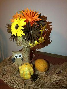 Paper bouquet, autumn colors, flowers