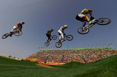Mind the gap:    Cyclists, from right, Jefferson Milano of Venezuela, Luis Brethauer of Germany, Kyle Dodd of South Africa and David Graf of Switzerland compete in the BMX cycling quarterfinals on Aug. 18.