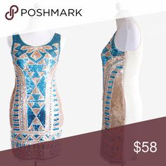"Sequin Aztec Bodycon Dress  Sleeveless dress with bodycon fit  Aztec sequin design on front, solid back  100% Polyester  SMALL Bust: 32"" Length: 32"" Waist: 28"" Hips: 35""  MEDIUM Bust: 35"" Length: 33"" Waist: 32"" Hips: 37""  LARGE Bust: 38"" Length: 33.5"" Waist: 36"" Hips: 40""  ✅20% off bundles 2+ ✅Color may vary due to different device color calibrations ❌No trades or transactions off Poshmark  ❌ No offers on bundles Dresses Mini"