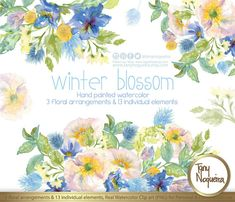 Winter Blossom 13 Wedding Elements, 3 wedding arrangements watercolor painted, PNG, Flowers, spring, romantic, bouquet, for invitations