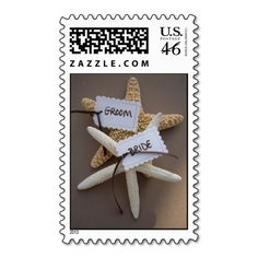 Bride Groom Starfish Beach Wedding Stamp