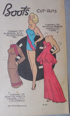 Boots Sunday Page With Uncut Paper Doll From 2 21 1954 Large Full Size Page | eBay