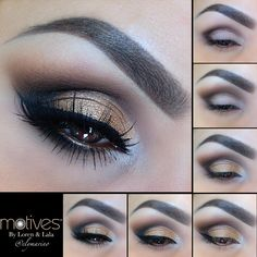 Get the Look with Motives #elymarino 1.Apply Chocolight in outer V and into the crease 2.Blend with Chocolate (My Beauty Weapon palette) 3.Apply Gold to lid staying underneath the crease (My Beauty Weapon Palette) 4.Begin to out line your winged liner using Little Black Dress Gel Liner 5.Finished winged liner, add Onyx eyeshadow to the outer V and underneath your lower lash line, add your lashes and your done!!