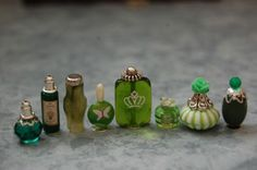 Miniature Dollhouse Perfume Vanity Collection by Sharonideas Green | eBay
