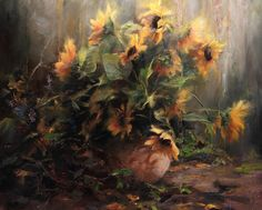 """First Blossoms"", original oil painting by Ralph Grady James, 24"" x 30"". Still life, floral, sunflowers"
