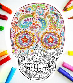 Sugar Skull Coloring Pages - 21 Printable PDF Blank Sugar Skull Designs to Print and Color.  OH MY GOD I LOVE COLORING!