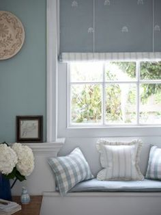 Swedish Blinds - Embroidered Linen Union from Moghul Interiors Limited