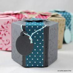 Des boites hexagonales réalisées avec la planche de marquage Insta'pochette de Stampin'Up! par Ilse Papercraft sur LesPetitsPapiersdIlse