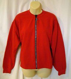 St Clair International Rhinestone Crystal Zipper Fleece Jacket / Cardigan Red M #StClairInternational #FleeceCardigan