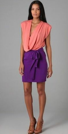 NWT DIANE VON FURSTENBERG Reara 100% Silk Candy/Currant Two Tone Draped Dress 2...http://stores.shop.ebay.com/vintagefluxed
