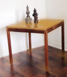 Table- Formica Covered top- Raw Mahogany bottom