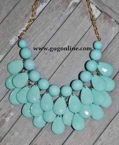 Giddy Up Glamour  $19.95  Mint Mini Bib Necklace