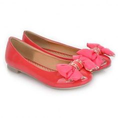 $20.06 Ladylike Style Casual Women's Spring Flat Shoes With Candy Color Bow and Patent Leather Design