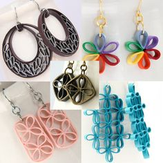 Tutorial for Paper Quilled Jewelry PDF Lattice Flower and Crescent Earrings