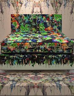 A photo of Paul Simmons, from artists Timorous Beasties, sitting in Plymouth College of Art Bedsit, Timorous Beasties, Arts And Crafts Movement, Art Furniture, William Morris, Designer Wallpaper, Plymouth, Surface Design, Street Art