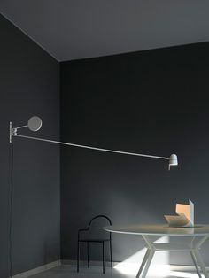 Luceplan Counterbalance lights with swiveling headThe Luceplan Counterbalance series includes a wall lamp, a spotlight and a floor lamp. Salon Lighting, Cool Lighting, Lighting Design, Custom Lighting, Office Lamp, Swing Arm Wall Lamps, Restaurant Lighting, Light Installation, Wall Design