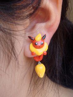 Cute Pokemon Flareon Two-Part Clinging Earrings. $20,00, via Etsy.
