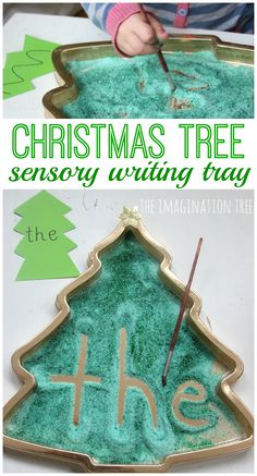 Create a Christmas tree sensory writing tray to encourage mark making, early letter formation and sight word learning! Early literacy activity fun for kids! Christmas Math, Christmas Activities For Kids, Noel Christmas, Christmas Themes, White Christmas, Winter Activities, Christmas Balls, Christmas Gifts, Imagination Tree