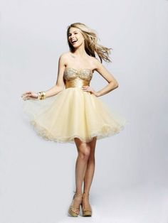 (FITS016014 )2012 Spring Style A-line Sweetheart  Beading  Sleeveless Short / Mini  Organza Gold Cocktail Dress / Homecoming Dress
