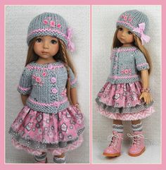 "OOAK Gray Pink Outfit for Little Darlings Effner 13"" Maggie Kate Create 