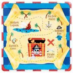 Este plato de carton con el mapa del tesoro, perfecto para tu fiesta pirata.  www.globosdecolores.com