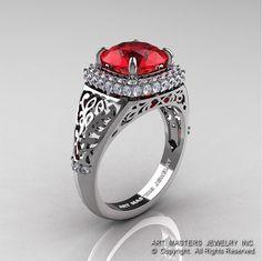 High Fashion 14K White Gold 3.0 Ct Ruby Diamond Designer Wedding Ring
