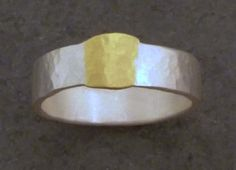 Roman Ring (wide) - Silver, 18ct Yellow ct Gold (solid) | ADELE BRERETON-UK